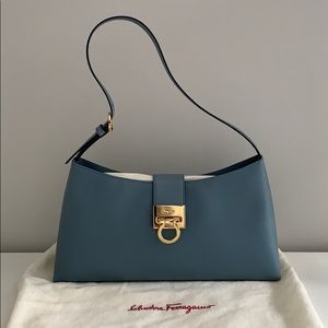 EUC Salvatore Ferragamo Blue Saffiano Shoulder Bag
